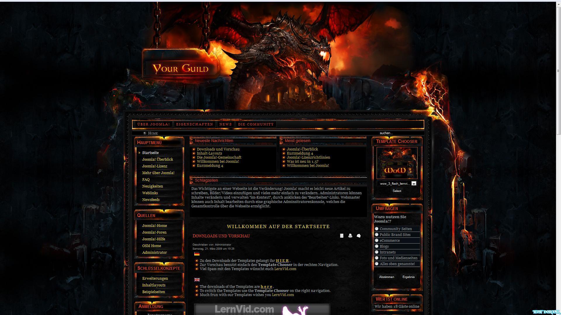 World Of Warcraft Joomla Templates
